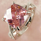 Pink & White Gemstone Fashion Jewelry Women Gift Silver Ring Size 6 7 8