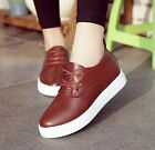 Womens Retro Fashion New Ladies Lace Up PU Leather Pumps Low Top Casual Shoes