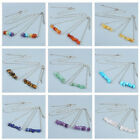 Lady Silver Natural Irregular Gemstone 7 Chakra Neckalce & Bracelet Jewelry Set