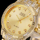Bling Lady Women Gold Crystal Stainless Steel Band Analog Quartz Wrist Watch