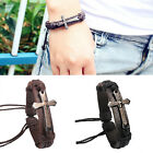 Cool Mens Black/Brown Adjustable Bible Scripture Cross Genuine Leather Bracelet