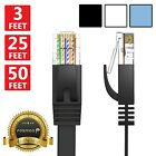 Fosmon 3 6 10 15 25 50 FT CAT6 Flat Slim Ethernet RJ45 Network LAN Cable Cord