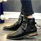 Mens New Pointed Toe Lace Up Business Casual Snkle Boots High Top Shoes Casual