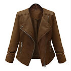 Winter Women Fashion Coat Motorcycle Jacket Synthetic Leather Casual Outwear