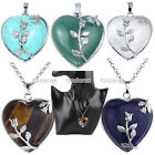 Fashion Chic Heart Crystal Gemstone Silvery Alloy Rose Pendant Necklace Jewelry