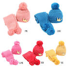 Unisex Baby Kids Warm Knitted Woolen Scarf Warm Woolen Coif Hood Scarf + Hat 2Pc
