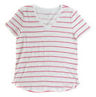 Tommy Hilfiger Women's Red Candy Stripe Casual Knit Top Ret $39.50 New