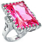925 Sterling Silver Large Emerald Cut Hot Ruby & Clear CZ Promise Ring Size 3-11