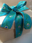 PEACOCK burlap/jute style shimmery feathers 63mm - Luxury Wire Edged Ribbon NEW