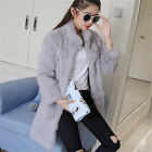 Real Rabbit Fur Women Long Coat Jacket Overcoat Garment Top Single Soft Clothing