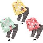Girl Kids Fashion Flower Butterfly Long Sleeved Bow Shirt Pant Set Suits