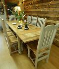 Extending Rustic Oak Farmhouse Kitchen Dining Set Table & Chairs Painted NEW F&B