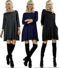 Flared Loose Fit Relax Pockets 3/4 sleeve Flowy Long Tee Mini Dress Top Tunic