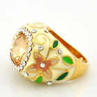 New Noble Yellow Gold GP Rhinestone Crystal Enamel Flower Cocktail Ring XR025B