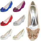 Wedge Mid Heels Round Toe Women Pumps Ladies Satin Wedding Party Dress Shoes New