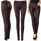 NEW LADIES WINE PU JEANS LEATHER LOOK SKINNY LEG STRETCH FIT TROUSERS PVC PANTS