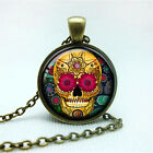 Hot Men's Women's Shiny Gems Smile Skull Floral Pendant Necklace Punk Jewelry HF