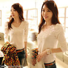 1X Fashion Womens Winter  White Lace Long Sleeve Slim Shirt Tops Blouse T-Shirt