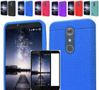 Tempered Glass+Rug Silicone Rubber Slim Case Cover For ZTE ZMAX Pro / Carry Z981