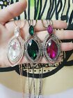 New Crystal With Big Center Stone Eye Pendant Sweater Long Chain Necklace NL265