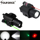 Combo CREE Q5 LED Flashlight &RED/Green Laser Sight 20mm Picatinny Rail Mount