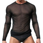 New Men's Slim Fit Sexy Mesh Sheer Long Sleeve Gym Tops Casual Stylish T-Shirt H