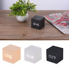 Mini Wooden Digital Alarm Clock with LED Snooze Backlight Voice Control Time