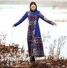 Womens Chic Chinese Style Winter Embroidery Floral Wool Coat Warm Slim Long Coat