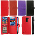 For LG K8V VS500 Flip Magnetic Card Holder Wallet Cover Case + Pen