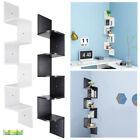 5 Tiers Wall Mount Corner Zig Zag Wood Shelf Floating Wooden Rack Home Furniture