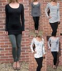 EXTRA LONG Tall Ladies Womens Long Sleeve Stripe Black Top 8 10 12 14 16 18 20
