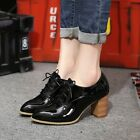 Women Fashion Lace Up Pointy Toe Block High Heels Leather Oxford Shoes Plus Size