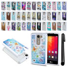 For LG Spirit H443 Anti Shock Studded Bling HYBRID Case Phone Cover + Pen