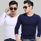 Fashion Mans Slim Fit 100% Cotton V-Neck Long Sleeve Casual T-Shirt Top Blouse