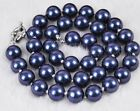 "new 8mm 10mm 12mm Natural Blue South Sea Shell Pearl Beaded Necklace 18"" AAA"
