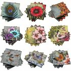 Set 4 Beautiful Glass Drinks Coasters Butterfly Birds  Various Designs