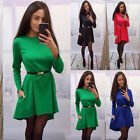 1PC Fashion Womens Casual Long Sleeve Evening Party Cocktail Loose Mini Dress