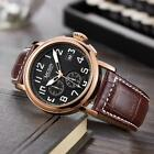 MEGIR Men's Leather Quartz Watch 3ATM Luminous Sport Chronograph Wristwatch