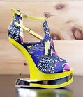Mona Mia Aymor Yellow/Purple Satin Multi Color Heel Less Wedge Shoe