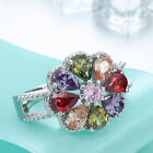 Fashion women Jewelry 925 Silver Charm Colorful Gemstone rings size 6-9
