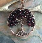 Garnet Necklace,Garnet tree of Life Necklace Antiqued Copper,Wire Wrapped Garnet