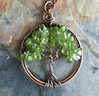 Tree of Life,Petite-Mini-Small Peridot Tree of Life Pendant Antiqued Copper,
