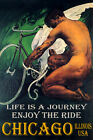 CHICAGO IL CYCLING MAN BICYCLE WINGS ENJOY BIKE RIDE LGBT VINTAGE POSTER REPRO