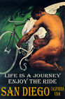 SAN DIEGO CA CYCLING MAN BICYCLE WINGS ENJOY BIKE RIDE LGBT VINTAGE POSTER REPRO