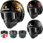 Shark Drak Sanctus Open Face Motorcycle Helmet with Goggle & Mask Kit Raw Street