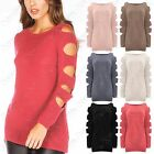 LADIES CUT OUT ARMS SLEEVE KNIT JUMPER WOMENS COLD SHOULDER SWEATER KNITTED TOPS