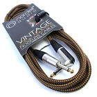 Premium Tweed Guitar Lead: Vintage Noiseless Cable Electric/Bass/Acoustic to Amp