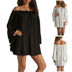 Women Long Sleeve Chiffon Party Evening Cocktail Off shoulder Mini Dress AS