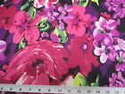 Discount Fabric Printed Lycra Spandex Stretch Fuschia Purple Bold Floral 402B