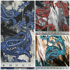 Discount Fabric Printed Spandex Stretch Paisley Storm Cloud Choose Your Color PS